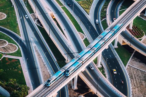 Highway intersection and Metro Train in Dubai, UAE