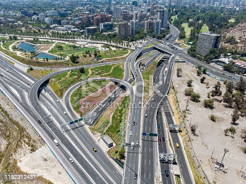 Aerial view of a road intersection in the south side of Bicentenario Park in Santiago de Chile