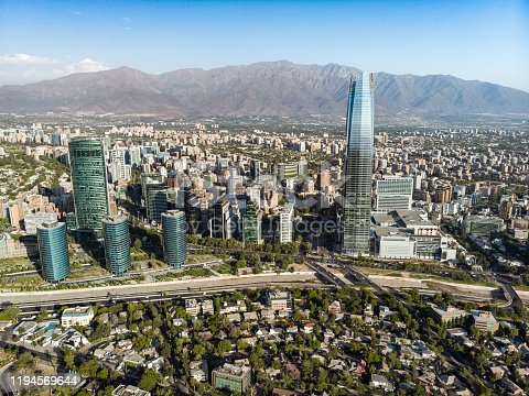 Aerial view of a road intersection in the east side of Santiago de Chile