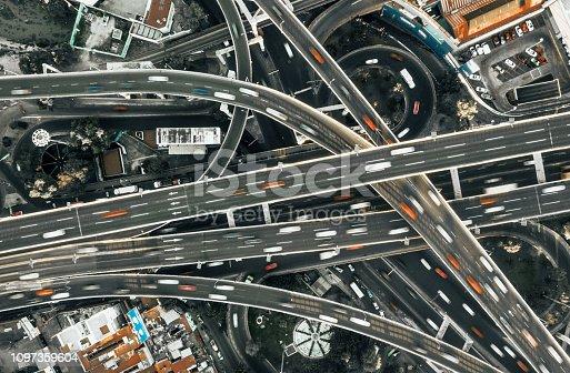 Highway junction aerial view