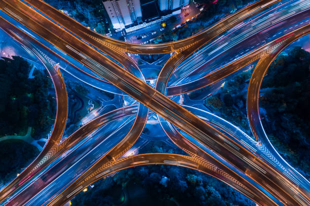 Highway junction aerial view stock photo