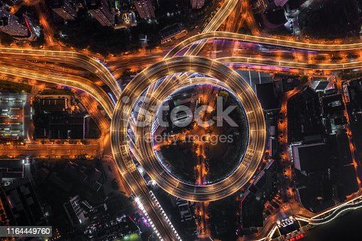Highway junction aerial view at night.