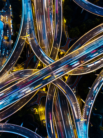 Shanghai highway junction aerial view at night time