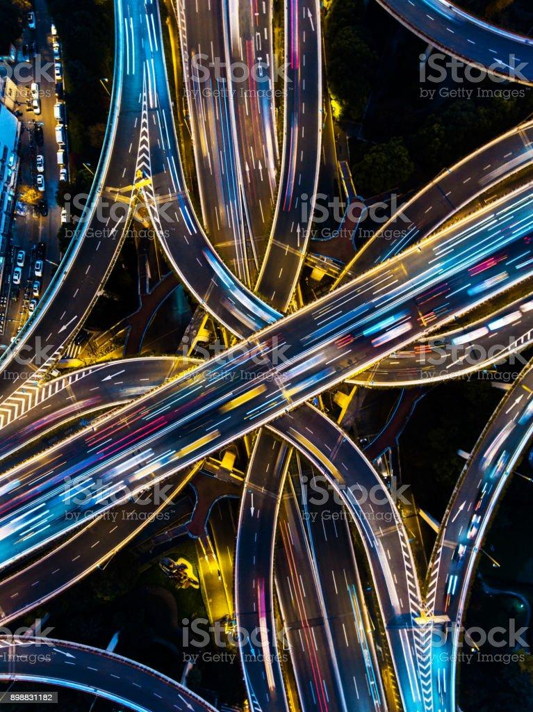 Autobahn Ausfahrt Luftbild – Foto