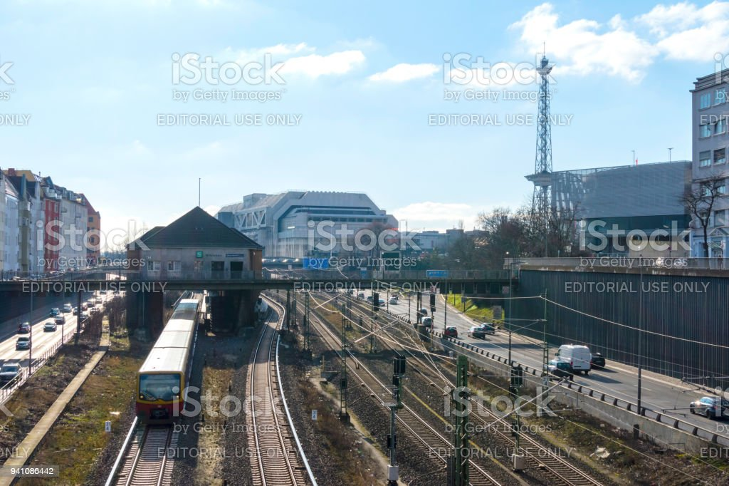 Highway junction and railroad lines in front of the former International Congress Center ICC Berlin, a station and the 'Funkturm' stock photo