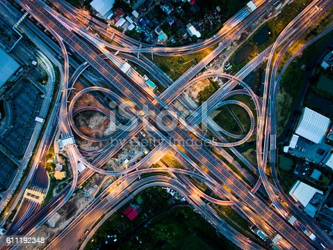 istock Highway junction from aerial view 611192348