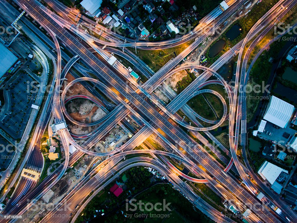 Highway junction from aerial view stock photo