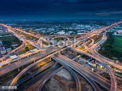 istock Highway junction from aerial view 611192370