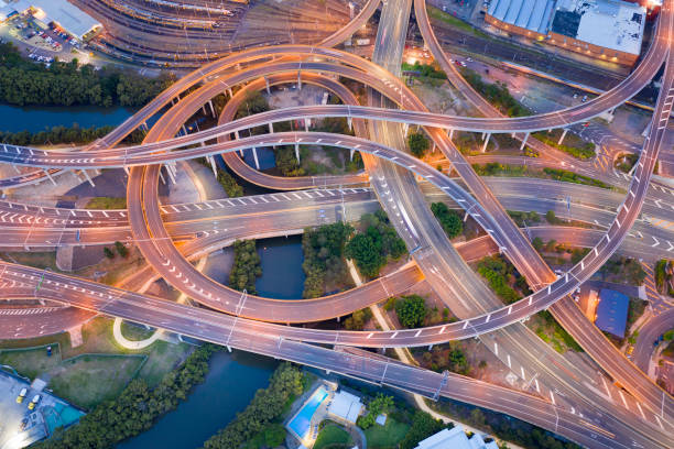 Highway Junction Intersection and Railroad Tracks, Brisbane, Australia stock photo
