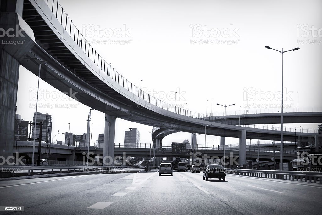 Highway junction near Odaiba industrial area in Tokyo royalty-free stock photo