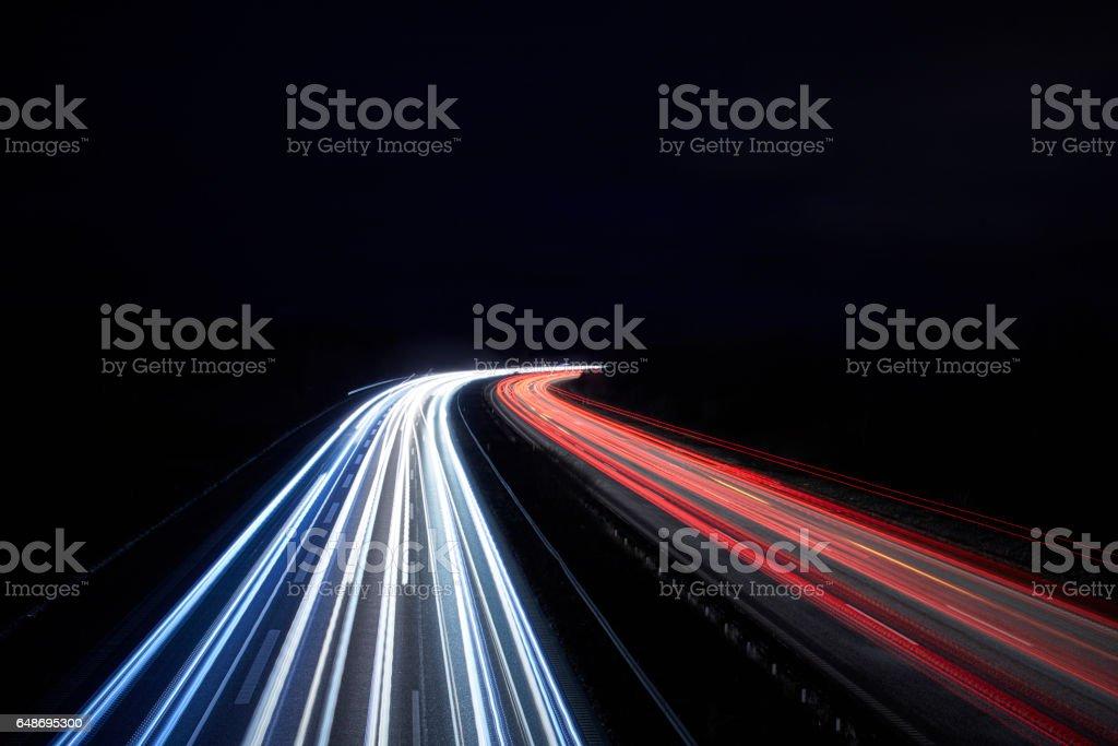 highway light paint stock photo