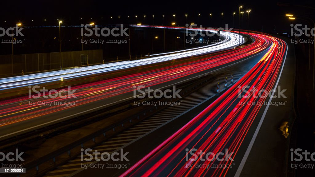 Highway long exposure. stock photo