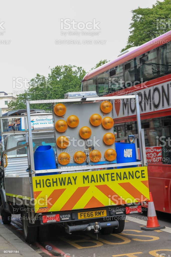 Highway Maintenance in Hyde Park Corner, London stock photo