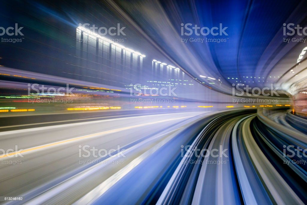 Highway Next to a Train in Tokyo Japan stock photo