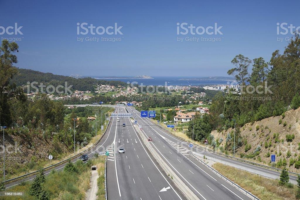 highway next Vigo city stock photo