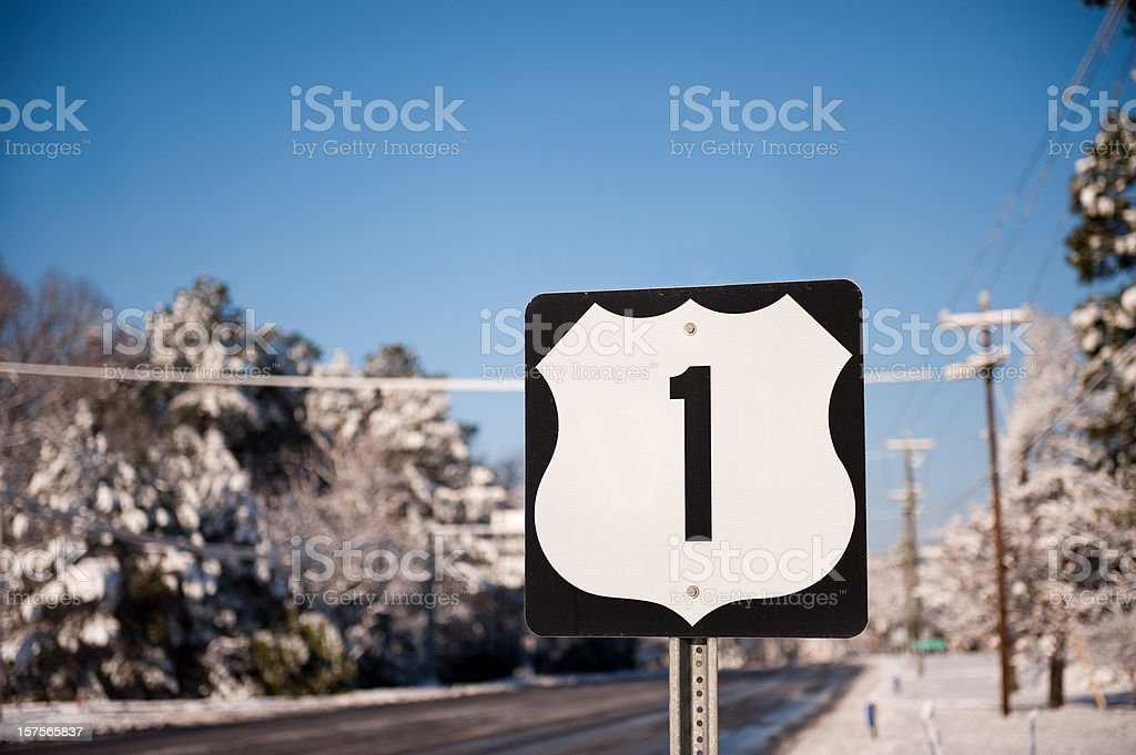 Highway Number 1 Road Sign stock photo