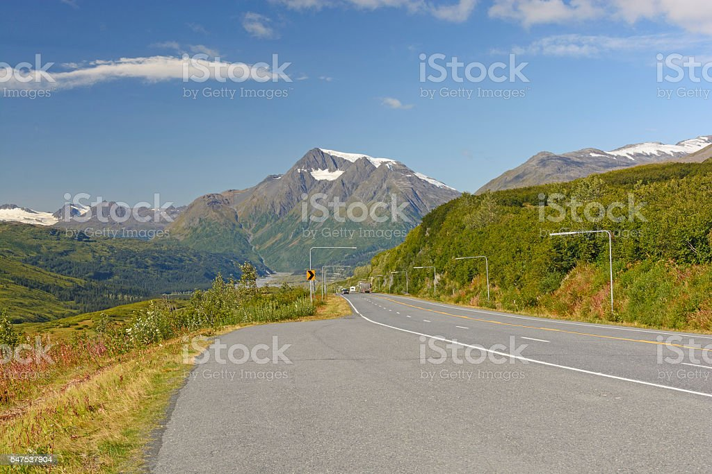 Highway on a Mountain Pass stock photo