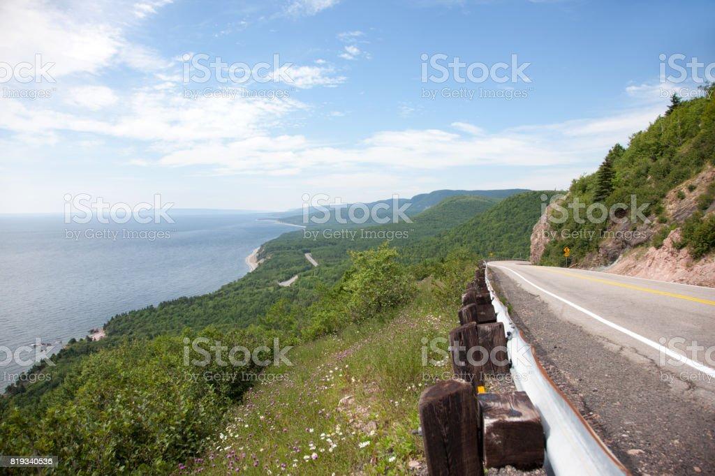 highway on coast of scenic cape breton stock photo