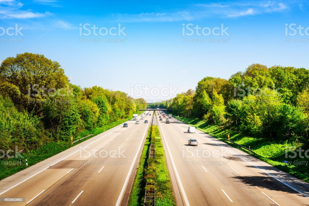 Highway on sunny day stock photo
