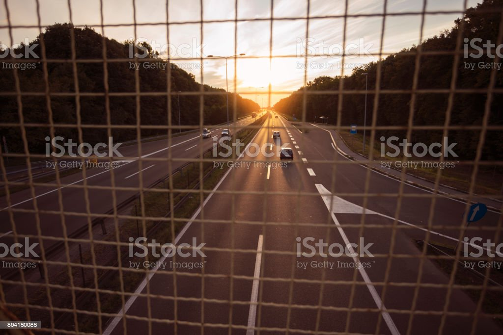 Highway on sunset royalty-free stock photo