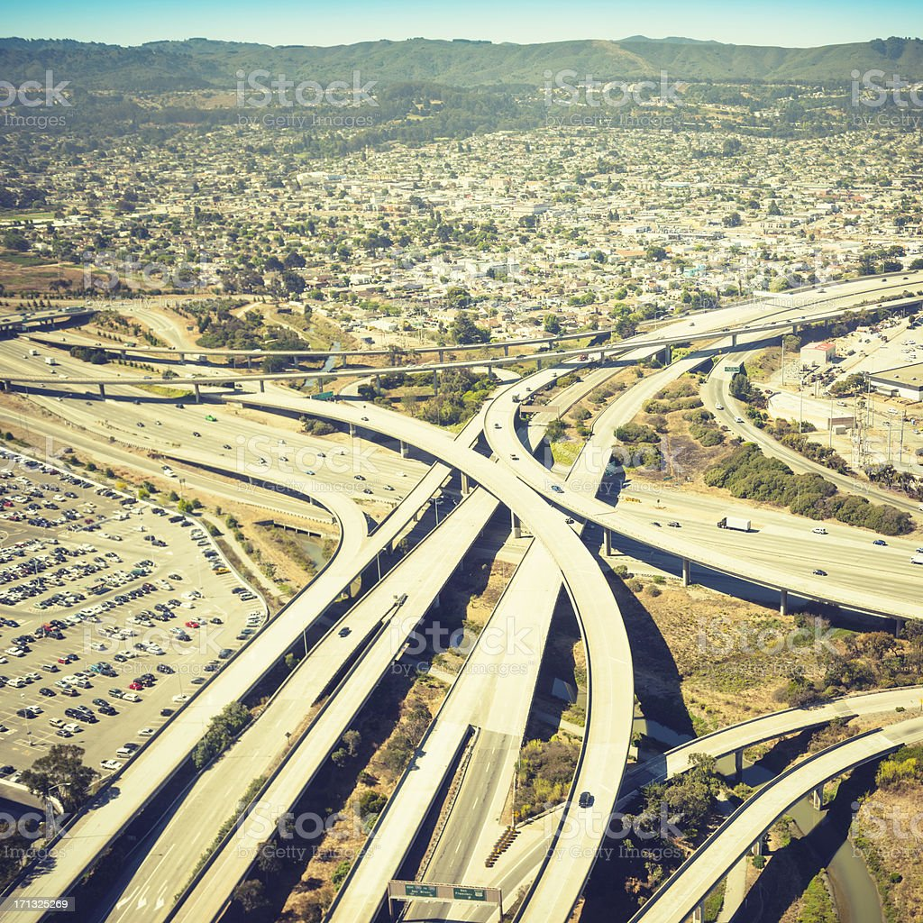 Highway Overpass intersection on San Francisco city stock photo