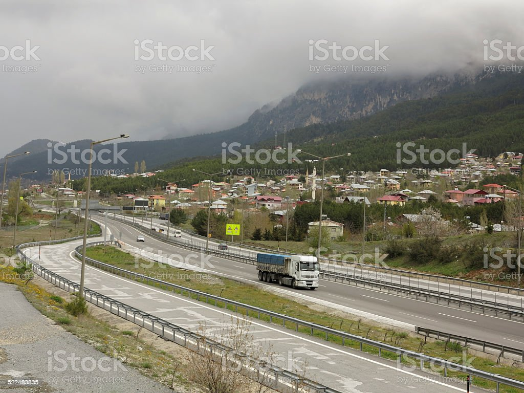 highway passing toros mountains at tekir village of mersin turkey stock photo