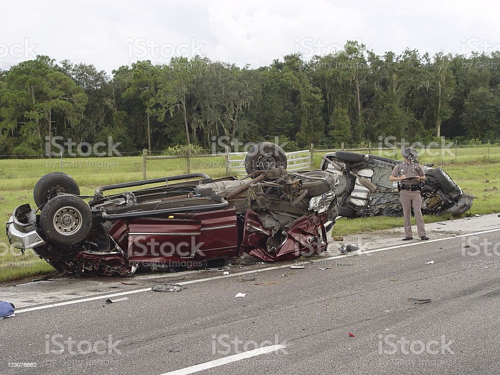 Highway Patrol Investigation royalty-free stock photo