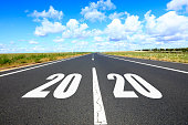 Highways, Empty asphalt road and New year 2020 concept.