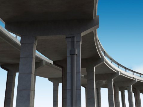 View from under the curved highway bridge leading to somewhere unknown...Similar images: