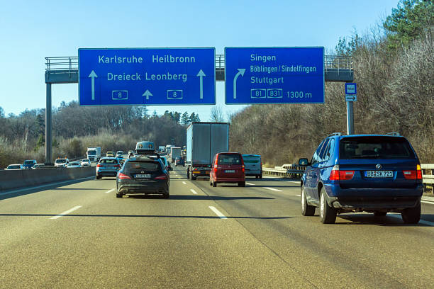 Highway Strasbourg, France - February 14, 2018: Traffic on the highway towards Strasbourg in winter. singen stock pictures, royalty-free photos & images