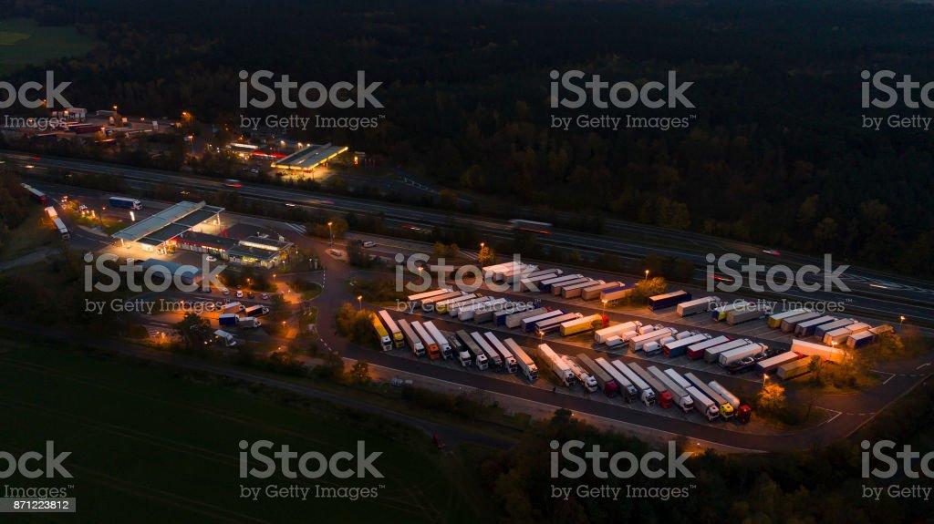 Highway rest area, truck parking stock photo