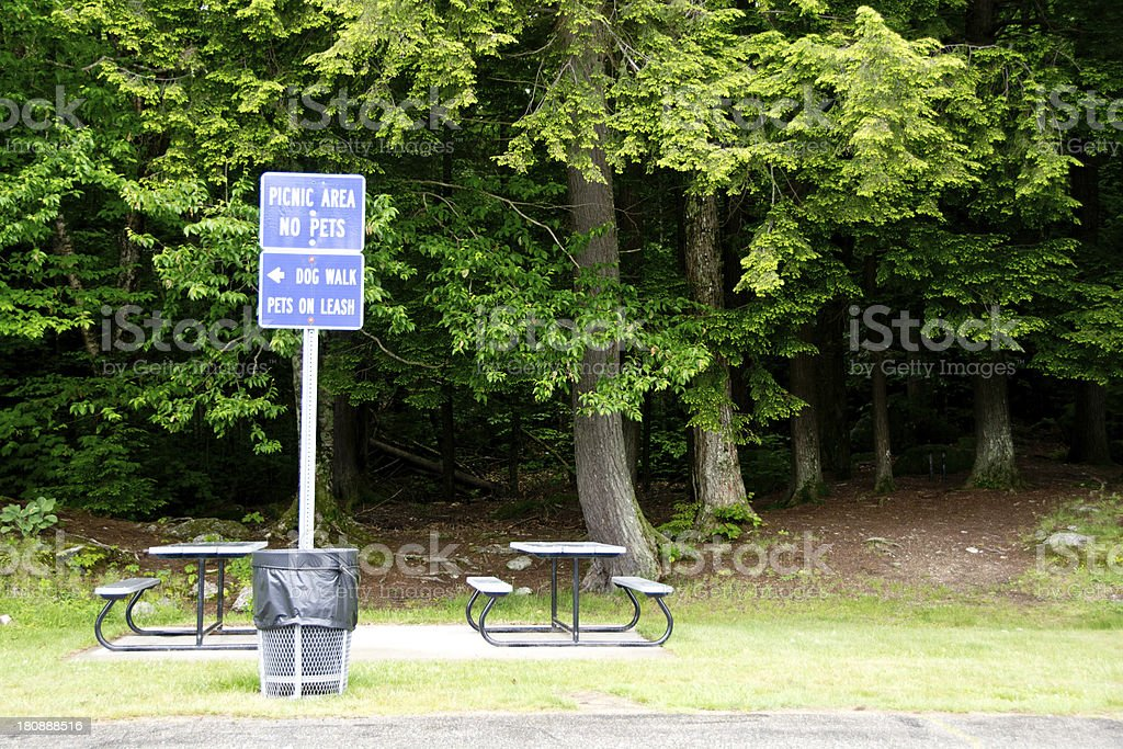 Highway rest stop and picnic area stock photo