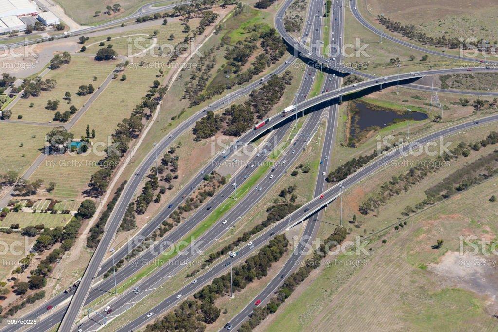 Aerial view of highway road.