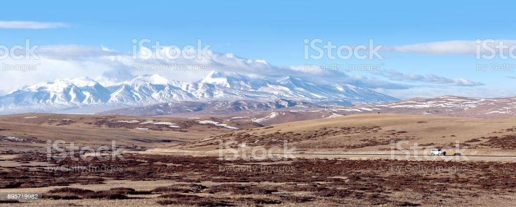 Highway road and Himalaya mountan landscape in Ngari Prefecture, Tibet stock photo
