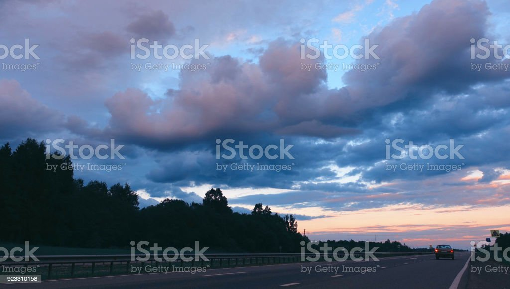 Highway road at evening. stock photo