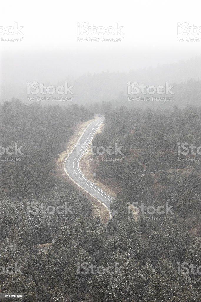 Highway Road Lane Winter Blizzard Snow royalty-free stock photo