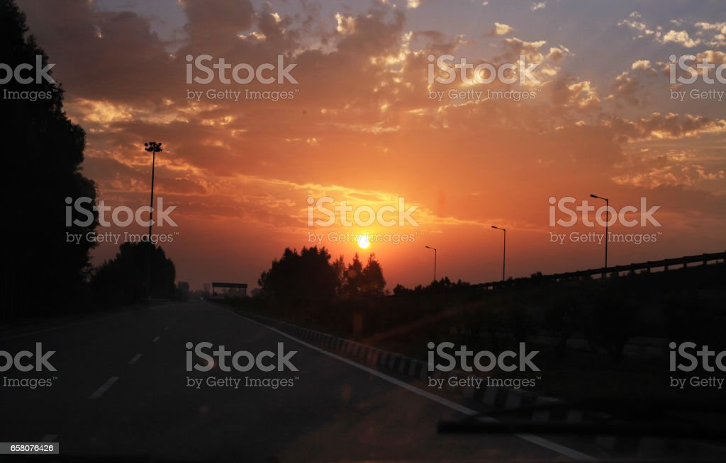 Highway road over moody sky royalty-free stock photo