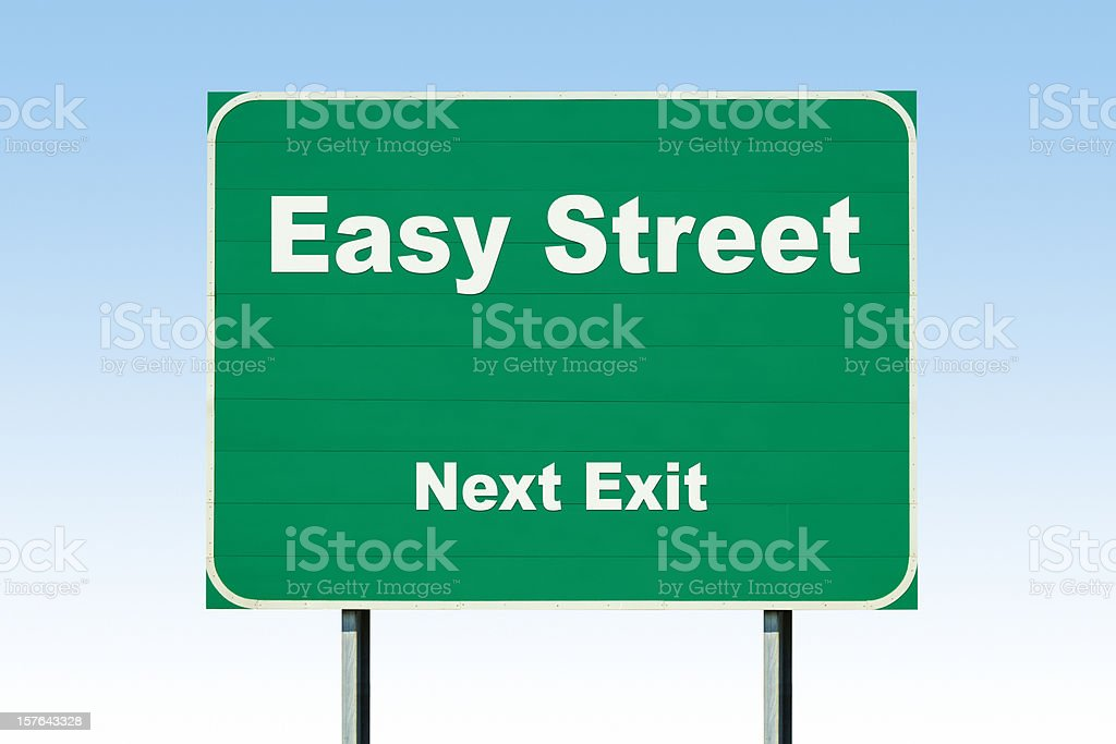 Highway Road Sign; Easy Street Next Exit stock photo