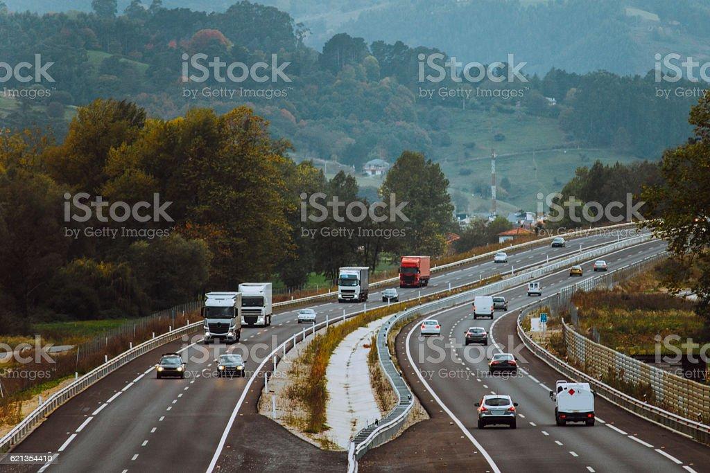 Highway scene stock photo