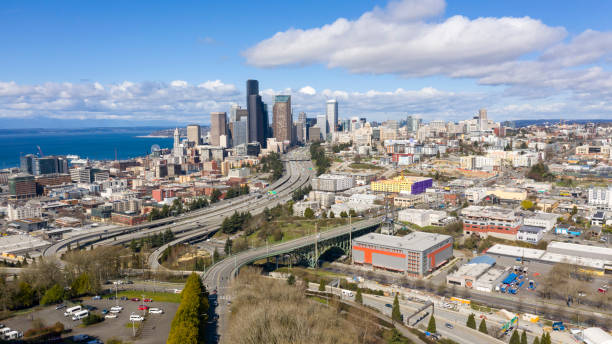 Highway Seattle Washington Downtown Desolate Scene Corona Virus Quarantine stock photo