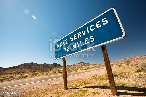 istock Highway service warning sign 579734322