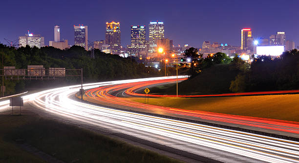 A highway shot with long exposure , Birmingham, Alabama stock photo
