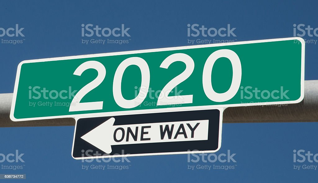 Highway sign for 2020 stock photo
