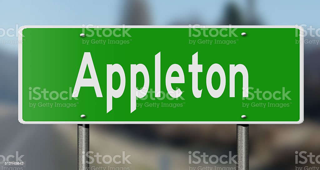 Highway sign for Appleton stock photo