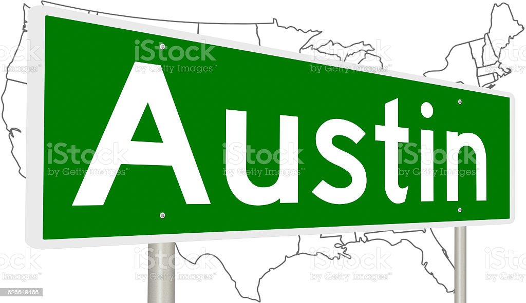 Highway sign for Austin, Texas stock photo