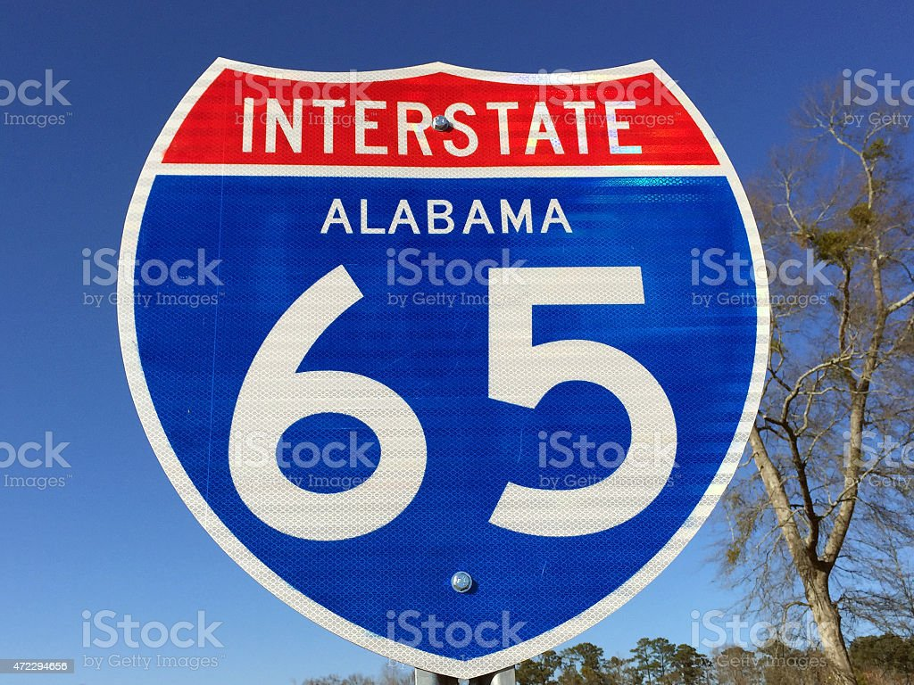 Highway sign for I-65 in Alabama stock photo