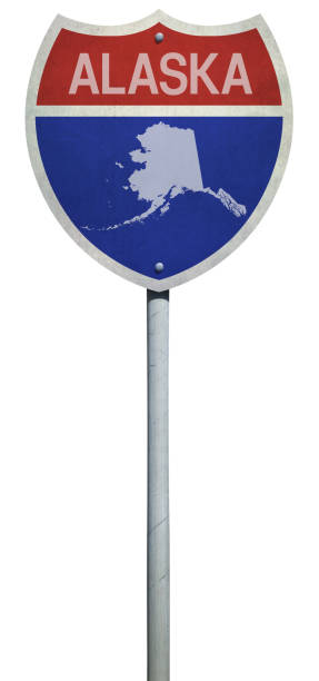 highway sign for interstate road alaska isolated on white - alaska us state stock photos and pictures