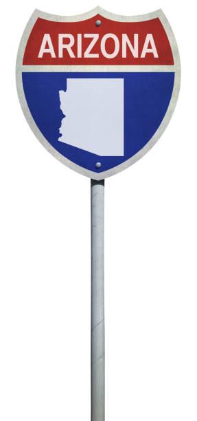 snelweg teken voor interstate weg arizona geïsoleerd op wit - arizona highway signs stockfoto's en -beelden