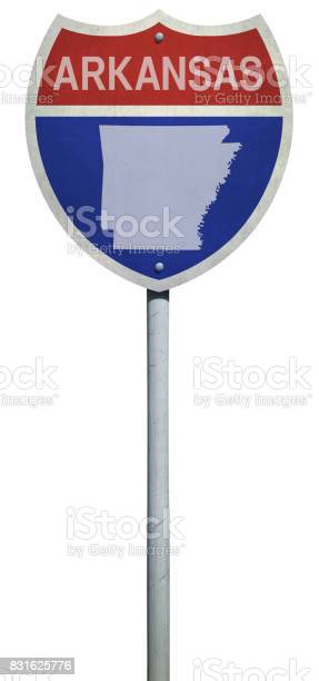 Highway sign for Interstate road Arkansas isolated on white