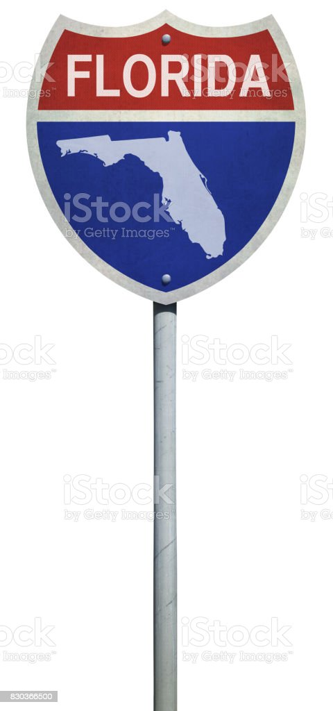 Highway sign for Interstate road in Florida with map isolated on white stock photo